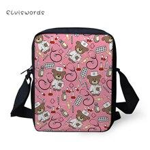 ELVISWORDS Cute Bear Doctor Nurse Print Messenger Bag Crossbody Mini Pretty Trendy Shoulder for Boys and Girls 2019 Fashion