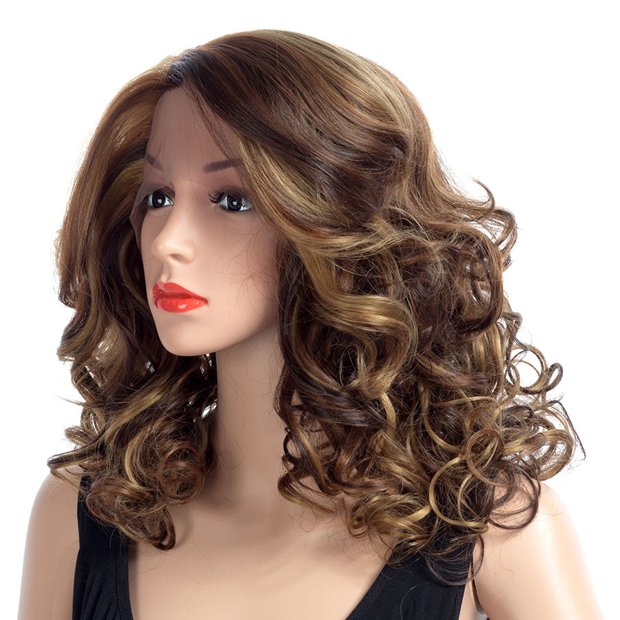 ELEGANT MUSES Lace Front Wig 18 Afro Kinky Curly Synthetic Hair Women Daily Costume Full Head Wig Ombre Cosplay Hair