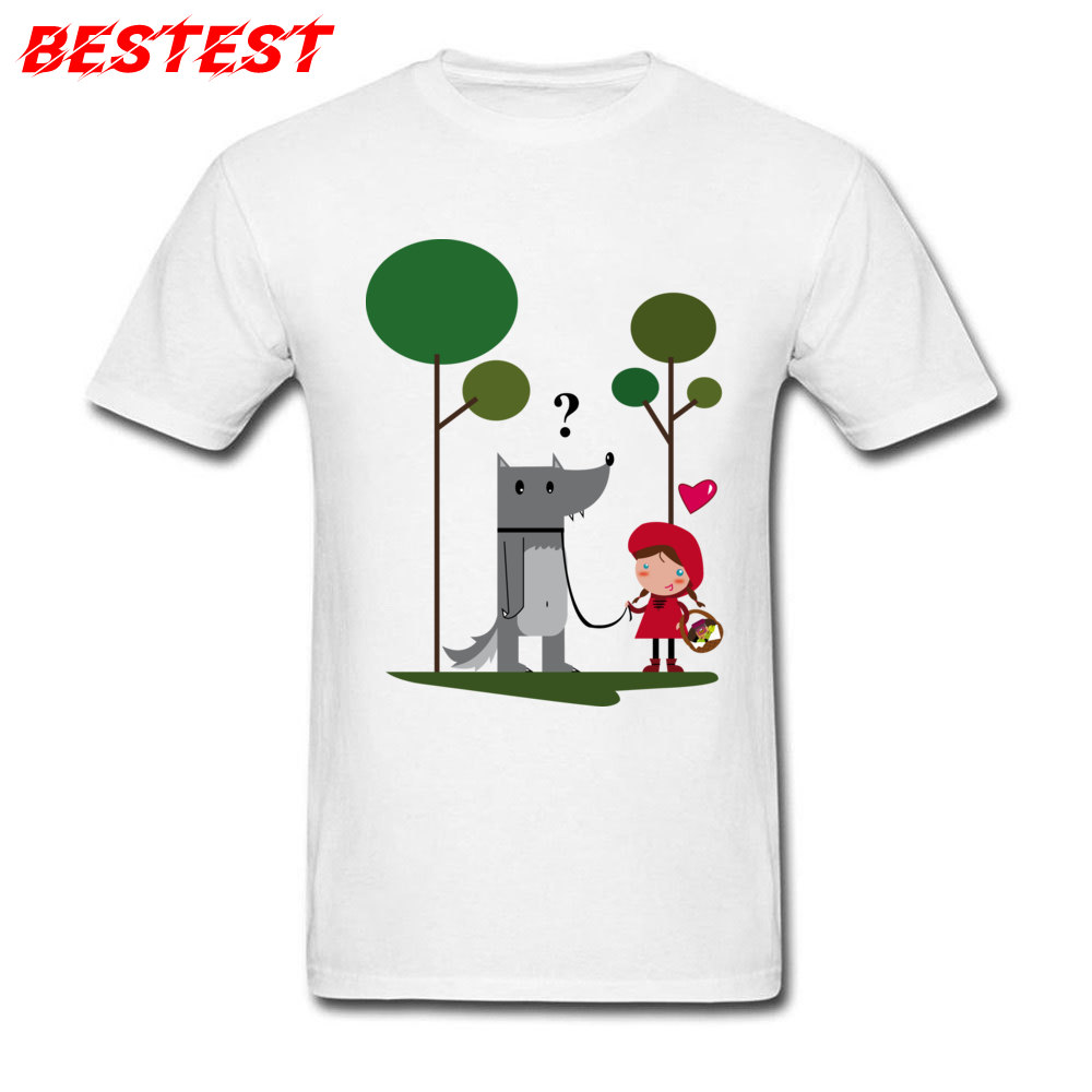 Autumn Funny T-shirt Men White T Shirt Little Red Riding Hood And Bad Wolf Print Cartoon Clothes Cotton Tops Tees Free Shipping
