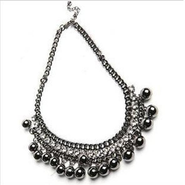 2016  Antique Vintage Black Balls Crystal Necklaces Fashion   Women Jewelry   N021