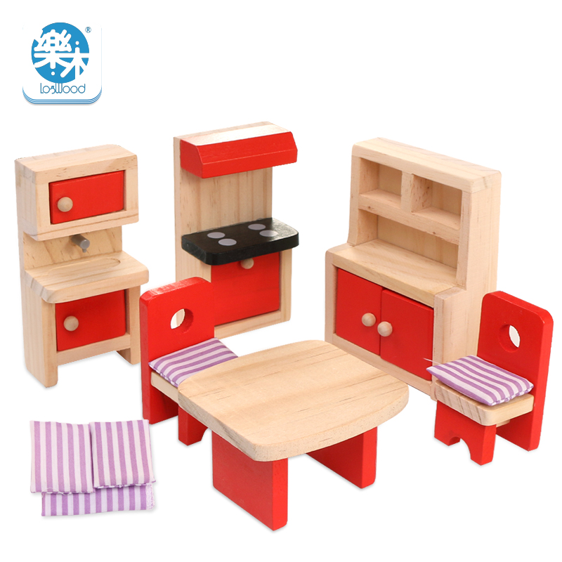 Wood Furniture Set Simulation Miniature Wooden Furniture Toys Doll House Dolls Baby Room For Kids Play Toy Furniture For Dolls