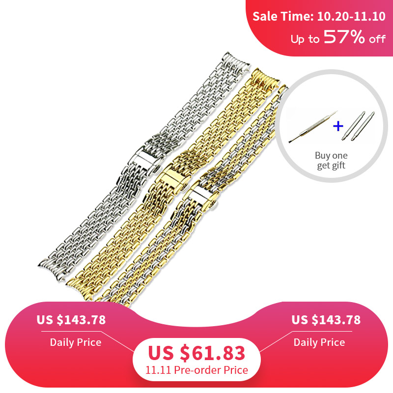 ISUNZUN Stainless Steel Watchband For Longines L4.860 Metal Men Women Bracelets 13mm 18mm 20mm Correas Para De Reloj Hombres недорго, оригинальная цена