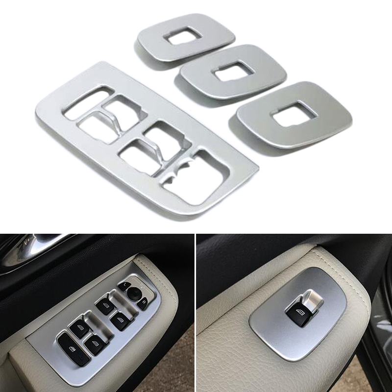 For <font><b>Volvo</b></font> <font><b>XC60</b></font> XC 60 <font><b>2018</b></font> <font><b>2019</b></font> SUV Carbon Fiber Interior Accessories Window Lift Switch Button Cover Trims Door Armrest Panel image