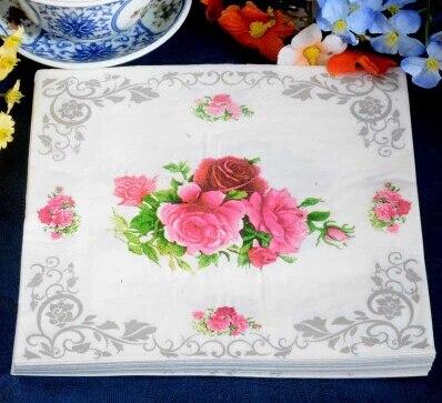 food grade flower paper napkin rose festive party tissue napkins decoupage decoration paper 33cm - Decorative Paper Napkins