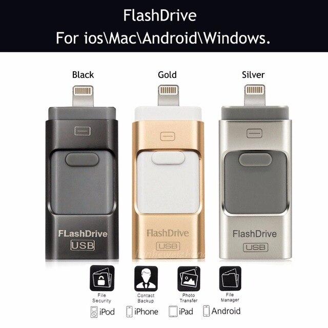 3 en 1 16 GB Metal USB OTG Unidad Flash U Disco Menory Palo para ios para iphone para el ipad para ipod para samsung y htc android teléfono