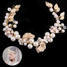 Романтический ободок для волос с золотыми листьями и жемчугом; головной убор для невесты; Свадебные украшения для волос; головной убор; подарок для женщин и девочек; BH