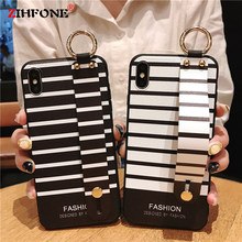 Fashion Stripe Phone Case For Xiaomi Mi 8 6X 5X A2 A1 Case On Xiaomi Redmi 4X Note 5 Pro Silicone Soft Wristband Back Cover Capa(China)