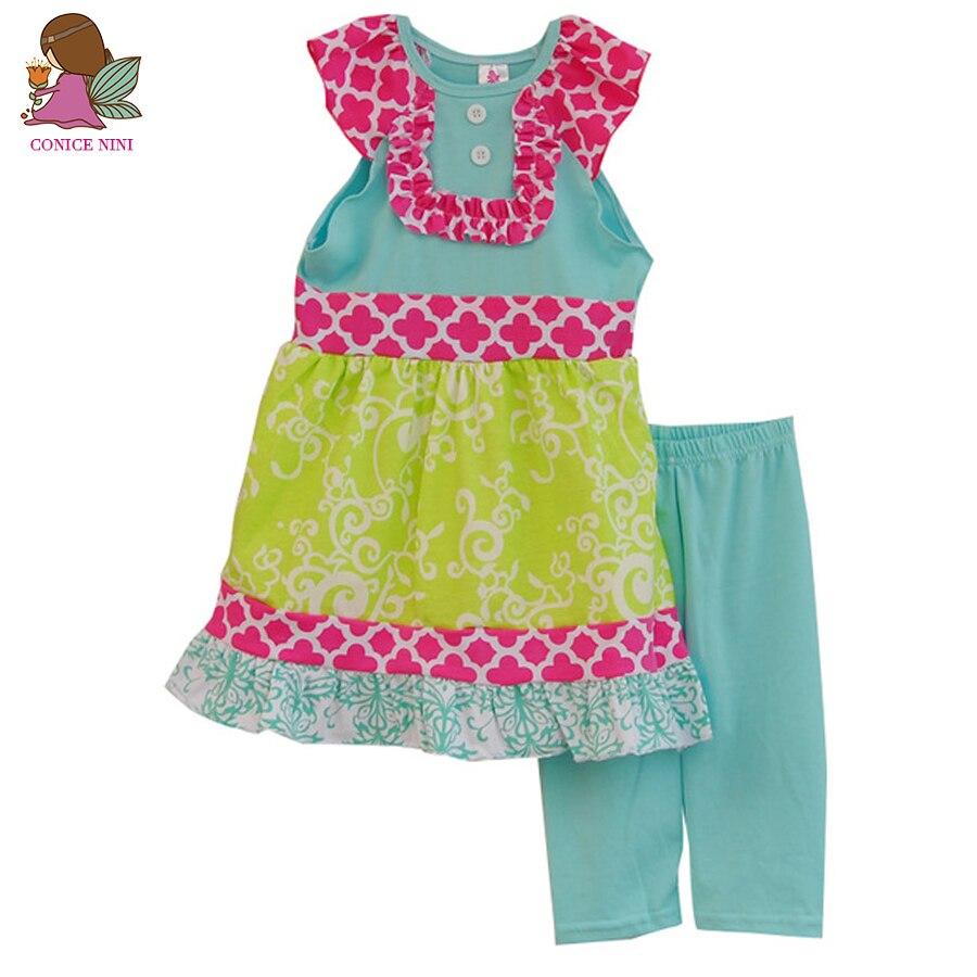 מפעל מכירת בנות בוטיק צווארון לפרוע סגנון צבעוני ללא שרוולים קיץ סט בגדי תלבושת חותלות בתוספת כחולה S015