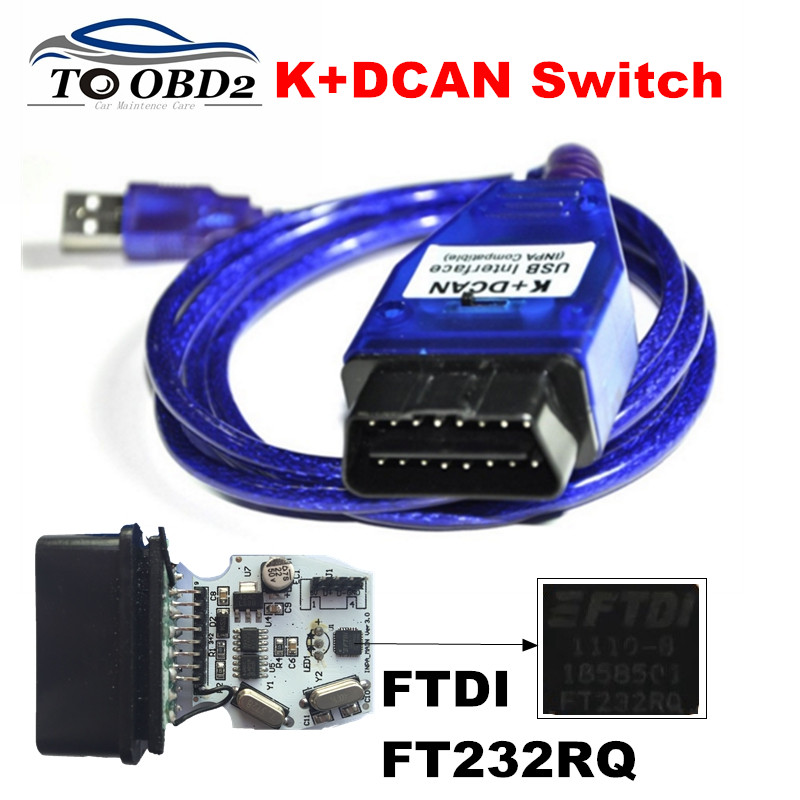 Best Qaulity For BMW INPA K+DCAN  Switch K CAN With FT232RQ With Switch Function For BMW KDCAN USB Interface Better Than FT232RL