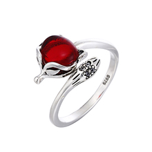 100% 925 sterling silver retro style thai silver cute little fox red crystal ladies`finger rings jewelry women party open ring