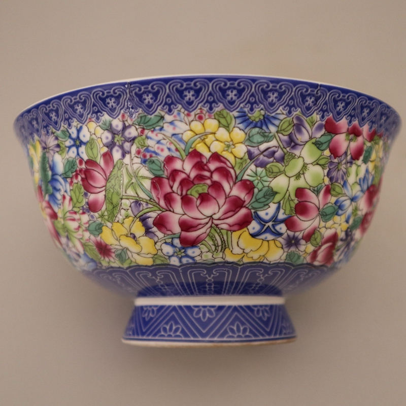 Exquisite Chinese Famille Rose Porcelain Enamel Colorful Flowers Bowl
