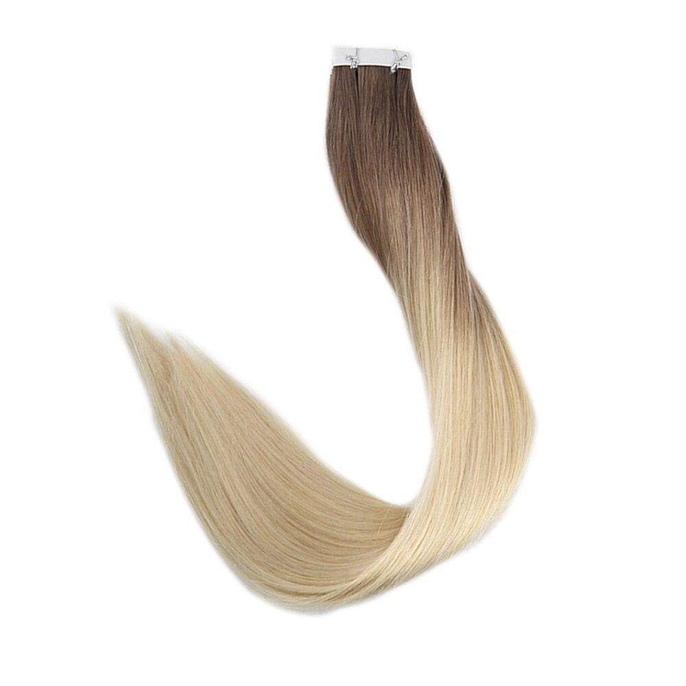 Полный блеск Ombre Цвет лента в волосах 100% реальные Реми Пряди человеческих волос для наращивания 20 шт. 50 г в посылка клей на волосах расширени...