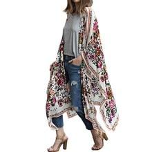 Boho Women 2017 Floral Printed Open Front Kinomo Tops Coats Cardigan Fashion Ladies Casual Loose Long Shirts Jacket Outwear