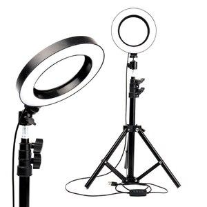 Image 5 - ไฟ LED 16 ซม.26 ซม.5600K 64 LEDs Selfie แหวนโคมไฟที่มีขาตั้งผู้ถือโทรศัพท์ปลั๊ก USB Photo Studio