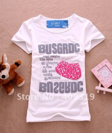 wholesale ladies fashion short sleeve t shirt with printing design(free shipping+newest design+fast delivery)
