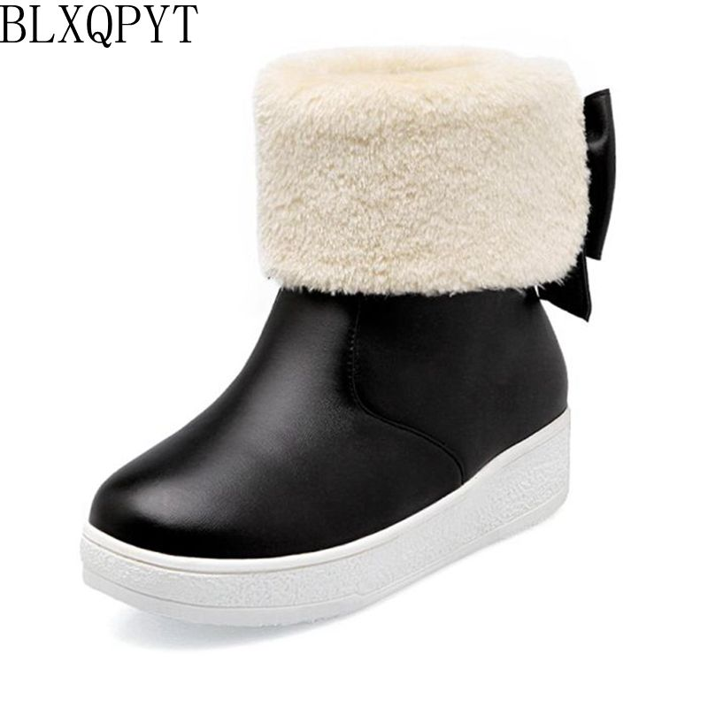 BLXQPYT 2017 Real Botas Mujer Snow Boots Big Size 34-43 New Round Toe Buckle For Women Casual Fashion Warm Winter Shoes 77-2