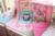 Promoção! 7 PCS berço Crib set para a menina consolador, Incluem ( bumper + tampa + cama edredão + cama saia )
