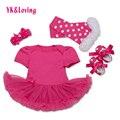 2016 Bebê Recém-nascido Roupas Conjuntos Menina Roupa Do Bebê 4 Pcs Romper Princesa tutu Vestido + Headband + Meias/Sapatos Presentes de Aniversário de natal