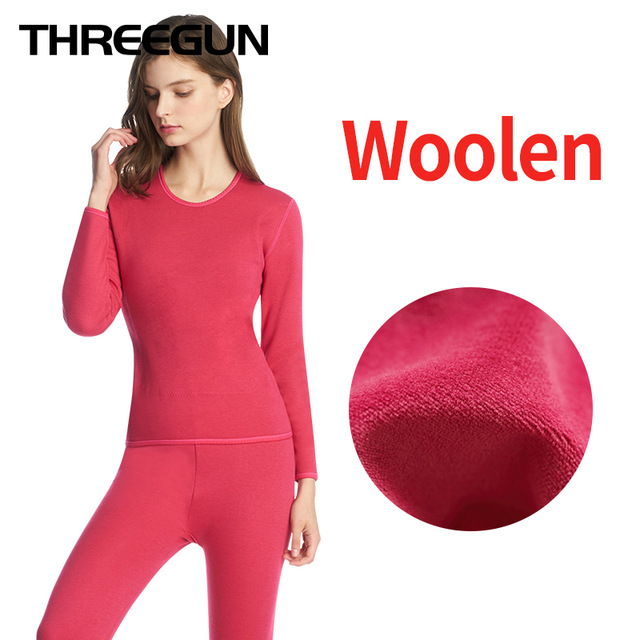 THREEGUN Womens Thermal Underwear Sets Wool Thick Plus Velvet Winter Warm Thermo Underwear Stretch Cloth New Hot Sale Long Johns