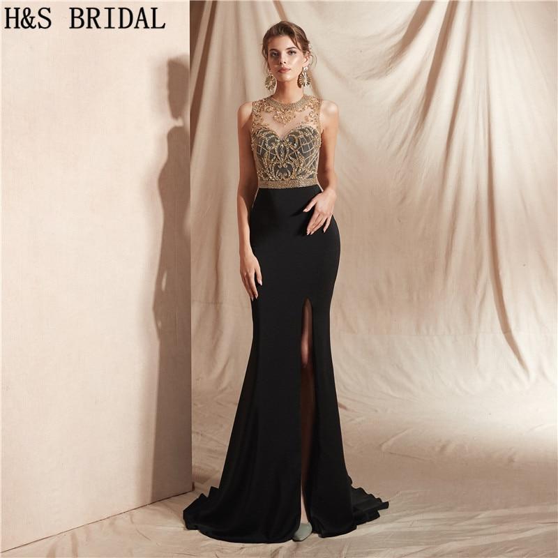 H S BRIDAL Elegant Formal Dress Black Side Slit Sexy Evening Dresses Long  Gold Beading Party Prom b3249f18f46b