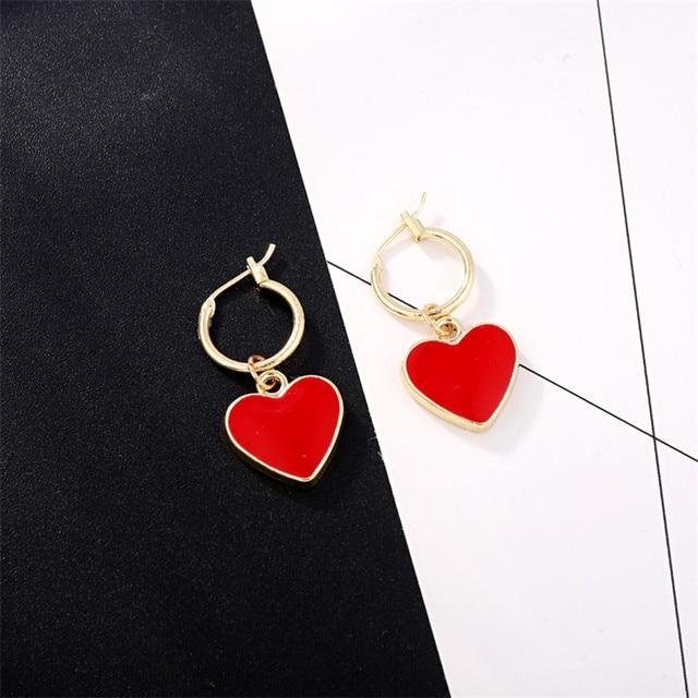 1Pair Korea Chic Red Heart Pendant Hoop Earrings For Women Girl Gold Color Ear Hoop Earring.jpg 640x640 - 1Pair Korea Chic Red Heart Pendant Hoop Earrings For Women Girl Gold Color Ear Hoop Earring Fashion Love Earrings Jewelry E606