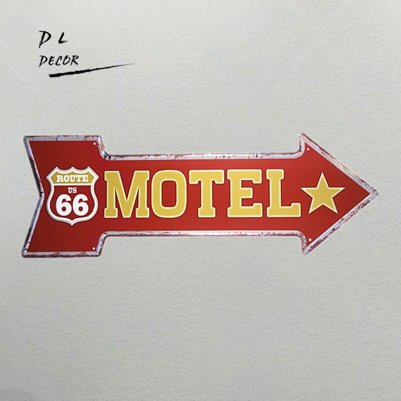7 55 8 De Réduction Dl Motel Route66 Classique Flèche Fer Peinture Garage Signes Pour Hommes Hot Rod Affiches Pour Mur In Plaques Et Enseignes From