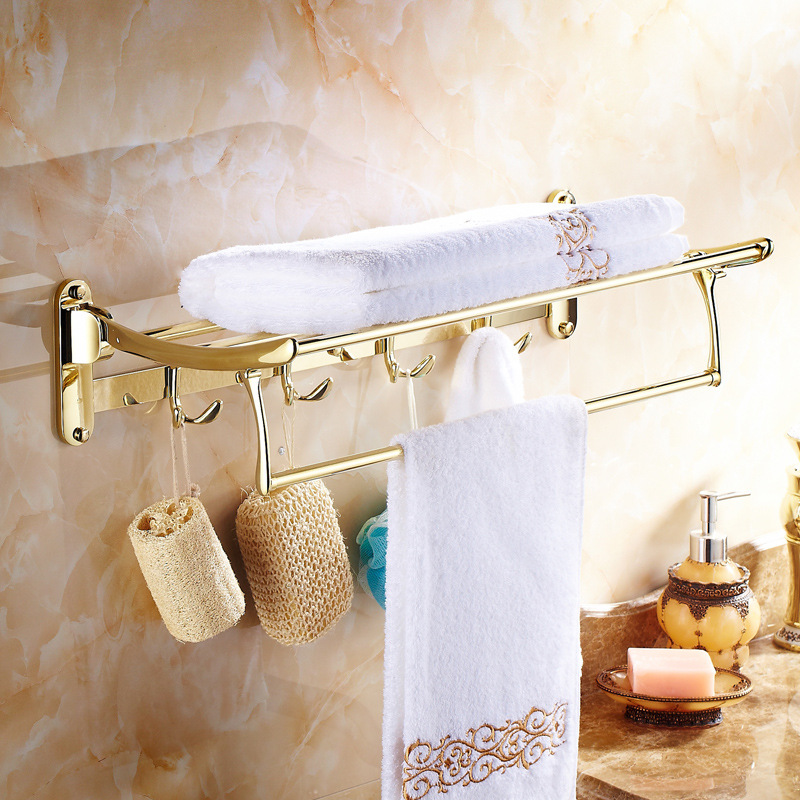 Antique Gold Polishing Towel Rack With Clothes Hooks Wall Mount 304 Stainless Stee Carved Base Bathroom Accessories Ul10 antique basket bathroom shelf european copper hanging pendant bathroom cosmetic towel rack with hooks bathroom accessories ac