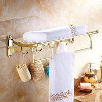 Antique Gold Polishing Towel Rack With Clothes Hooks Wall Mount 304 Stainless Stee Carved Base Bathroom Accessories Ul10