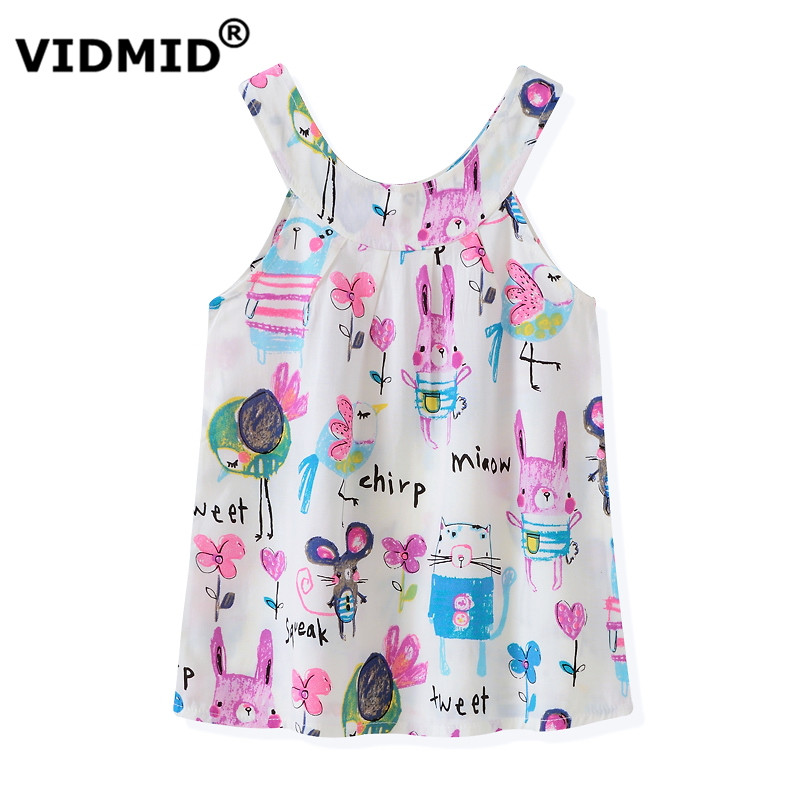 VIDMID New  Summer Girls Dresses for girl Baby Girl tank Dress Children Sundresses Kids Sleeveless beach clothing 6004 02 summer 2017 new girl dress baby princess dresses flower girls dresses for party and wedding kids children clothing 4 6 8 10 year