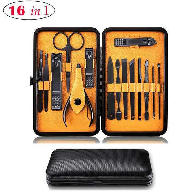 Professional 16pcs.set Manicure Pedicure Set Nail Clippers Stainless Steel Pedicure Kit Nail Scissors Grooming Kit