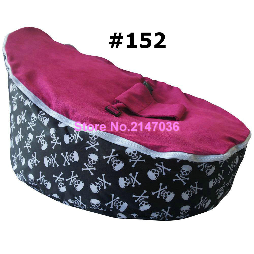 Promotional cheap price good quality Pirate skull with pink seat baby beanbag chairs,Infant sleeping bean bag toddlers sofa seat domestic beige baby seat and sofa with 2 top covers nice quality baby infant bean bag cheap sale