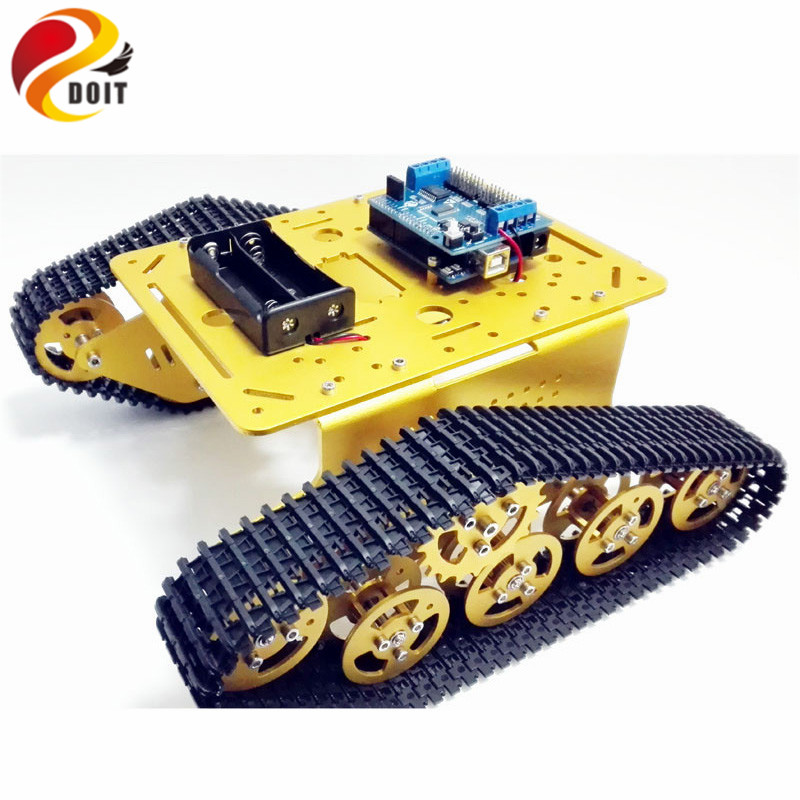 DOIT T300 Tank Chassis Platfrom with ESPduino Control Board+Motor Drive Shield Board Compatible with Arduino 5v 2 channel ir relay shield expansion board for arduino