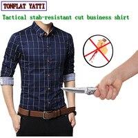 Самообороны тактика бизнес колото анти вырезать мужские рубашки Невидимый Мягкий Мода плед безопасности защитная одежда