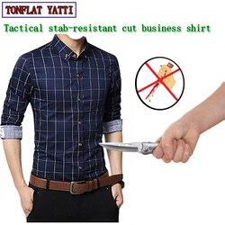 Тактика самозащиты, бизнес, устойчивая к ножевым повреждениям, мужские рубашки, невидимая мягкая модная защитная одежда в клетку
