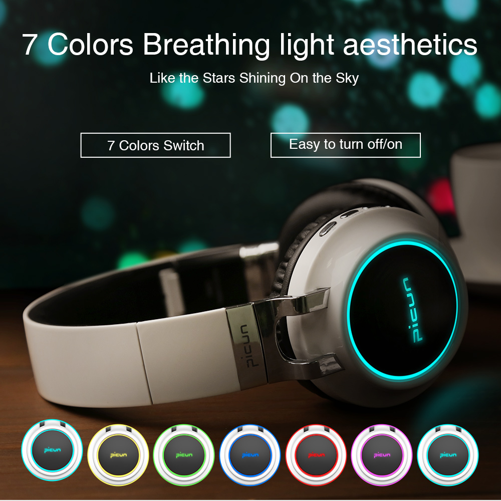 Sound Intone P60 Bluetooth Headphones Wireless Led Glowing Headphone 7 colors Shining Earphone for Samsung for iphone for TV MP3
