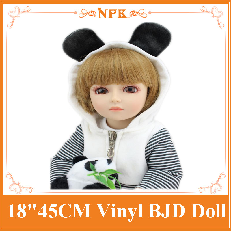 Lovely 18inch Baby Dolls For Girls With Bear Clothes Hot Welcome SD /BJD Doll Best Enducational Toys For Girl As Christmas Gift 18 inch newest vinyl dolls girl doll with dress and hat lovely princess doll toys for children christmas gift