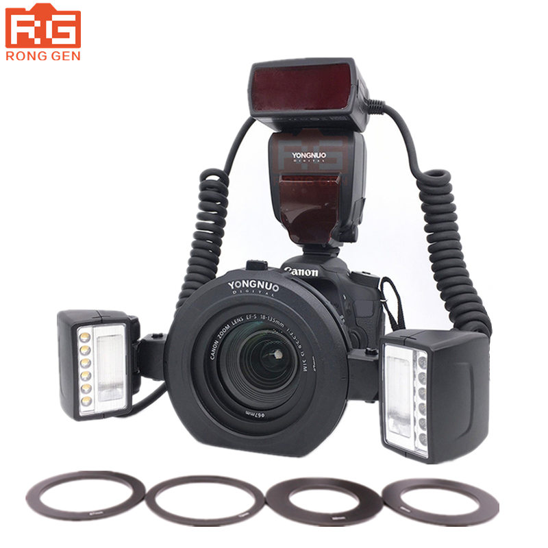 YONGNUO YN-24EX E TTL Macro Flash Speedlite Double Head flash - LED Light for Canon 5DIII 5DII 5D 6D 7D 80D 70D 60D 50D 750D yongnuo yn 14ex ttl macro ring flash light work with adapter for canon 7d 6d 5diii 70d 700d