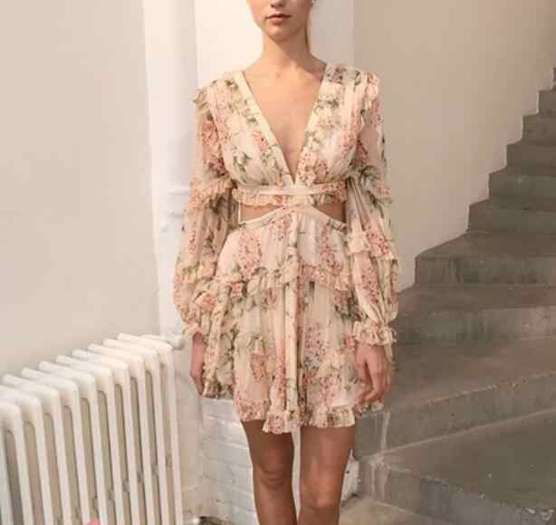 e8f337b2aa08f 2018 Runway Floral Print Silk Mini Dress V-neck Cutout Waist Open Back  Crossover Lace-up Tied Long Sleeves Ruffles detail