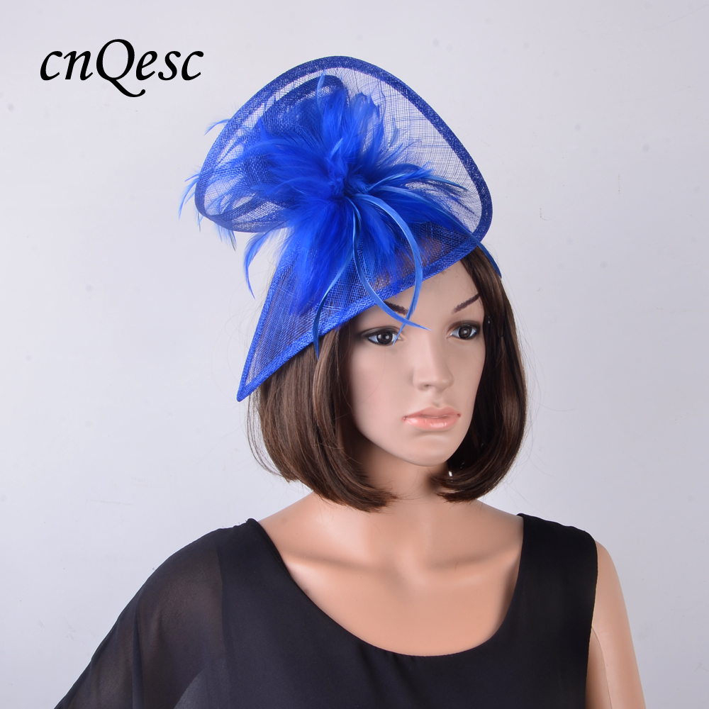 NEW Cobalt royal blue Sinamay fascinator wedding hat w feather flower for Ascot Melbourne Cup Kentucky