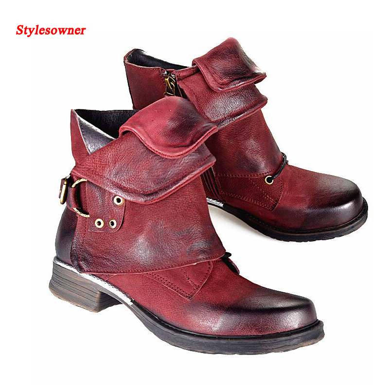 Stylesowner New Fashion Women Martin Boots Retro Flat Bottomed Female Knight Short Ankle Boots Punk Style Gladiator Boots round flat bottomed sweet bowknot short boots