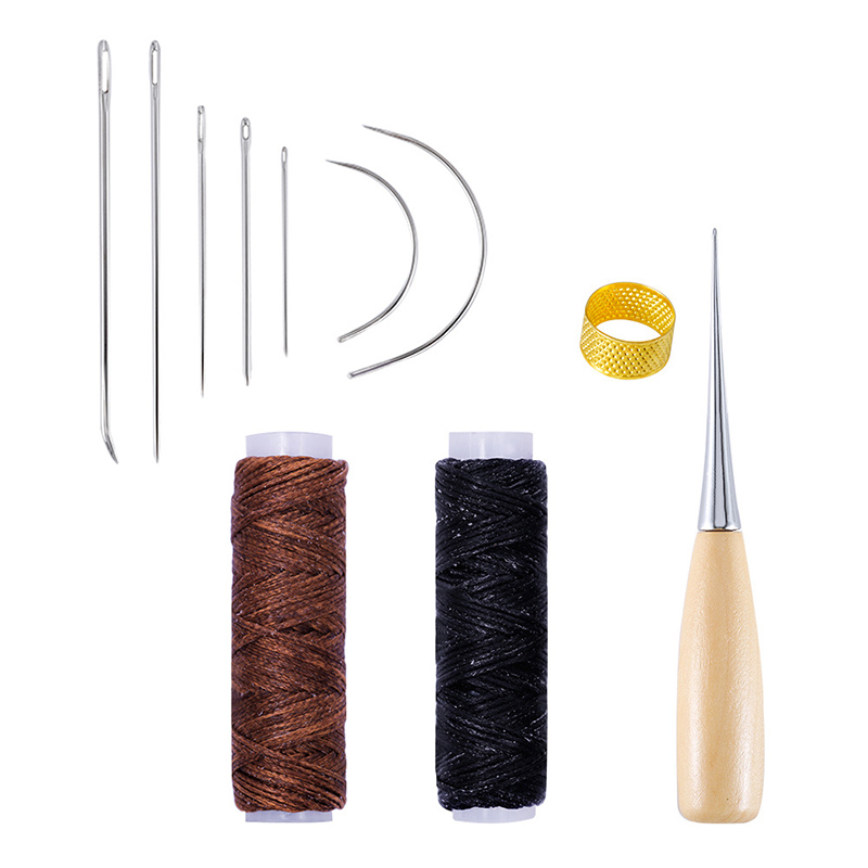 10Pcs Leather Craft Tools Kit Hand Sewing Stitching Punch Work Saddle Leathercraft Accessories