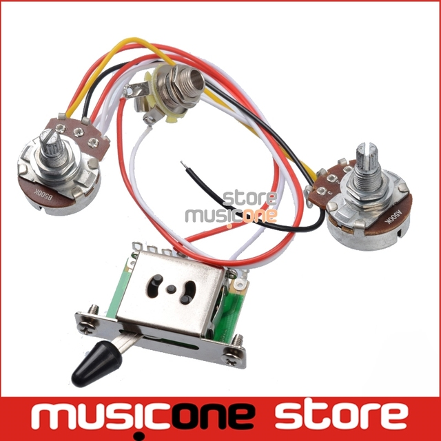 aliexpress com buy 3 pickup guitar wiring harness prewired 3 pickup guitar wiring harness prewired a500k b500k big pots 5 way switch 1 volume