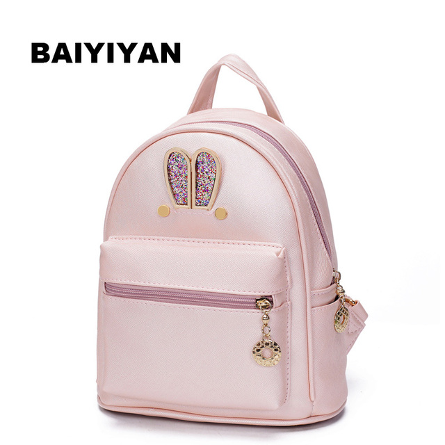 Women Coat of paint Leather Small Backpack Preppy Style School Bag Cute Bunny  Rabbit Ears Small e26bf1ef454ee