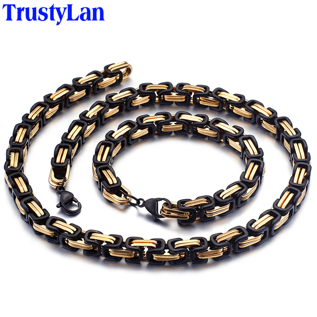 TrustyLan Black Golden Stainless Steel Link Chain Bracelet Men Biker Jewelry Birthday Gifts For Dad Him