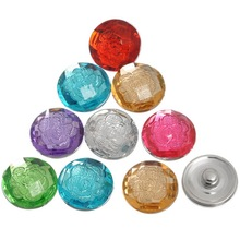 10Pcs Mixed Colors Resin Flower Round Charm Click Snap Press Buttons 18x10mm, Fastener 5.5mm