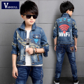 2016 autumn winter hot new boy fashion jacket 4-13 years old children classic denim jacket cotton printing letters Wifi