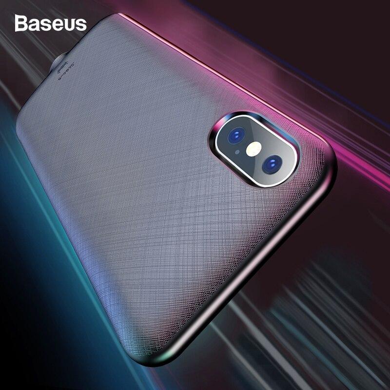 Pour iPhone XS X Baseus 4000 mAh Chargeur De Batterie CasePower Banque Étui De Charge Batterie Externe étui pour iPhone Xs X S Couverture Arrière
