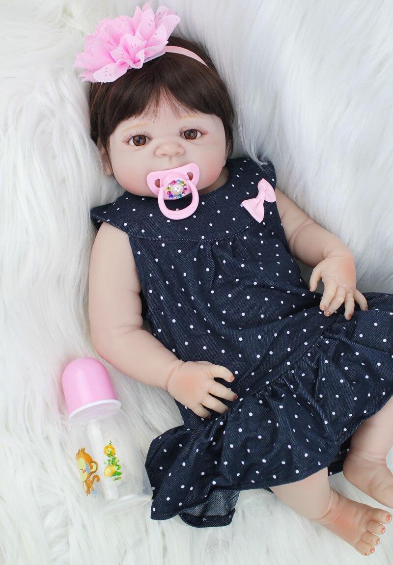 55cm Full Body Silicone Reborn Girl Baby Doll Toys 22inch Newborn ...