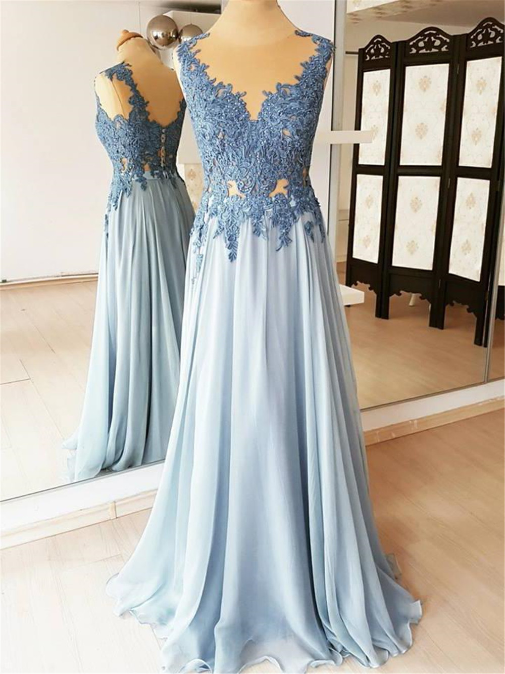 High Quality Light Blue Chiffon   Prom     Dresses   Lace Appliques Illusion A Line Elegant Long Formal   Dress   2019 Vestido De Festa
