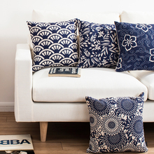 Chinese style Home Decorative Linen Cushion Cover Blue classic Flowers elegant Pattern Pillow Case Sofa Chair Waist Pillow cover